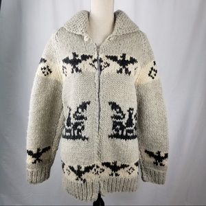 Vintage Cowichan Sweater Hand-Knit Thunderbird